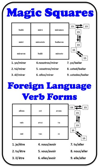Foreign (World) Language Verb Form Magic Squares (French, Spanish) wlteacher.wordpress.com