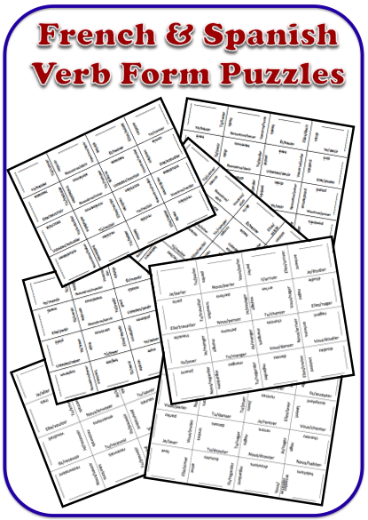 French and Spanish Verb Form Puzzles wlteacher.wordpress.com